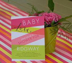 neon baby shower invites