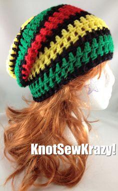 Slouchy Beanie Crochet Hat Handmade Black Red by roxygal48 20267a044ff