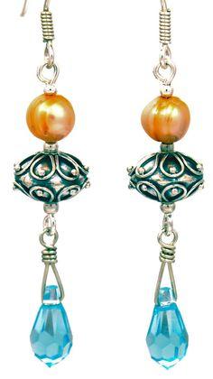 Turquoise teardrop & intricately designed Bali beads. photo lovetobeadbycindy