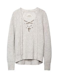 Nili Lotan Lace-Up V-Neck Sweater, $875;  nililotan.com    - ELLE.com