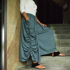 Hey, I found this really awesome Etsy listing at https://www.etsy.com/listing/80249382/helen-skirt-pantssmoke-gray-cotton