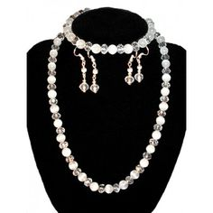 Handmade Jewelry: Cat's eye and Crystal Beads White Jewelry Set (Necklace + 2 Earrings Sets + Bracelet) http://beautyoffemininity.com/store/