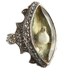 Sevan Bicakci - Lemon Topaz Ring featuring the carving of a bird within, $12,555