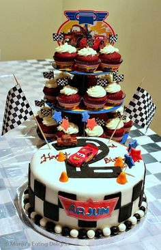 Disney Cars themed Birthday Cake and Cupcakes [Checkerboard cake and Red Velvet Cupcakes ] | Manju's Eating Delights