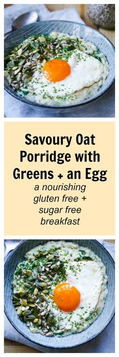 Mix up your everyday porridge with this incredible savoury breakfast bowl! It's healthy, packed with protein, veggies and good fats, AND it's super delicious! Gluten free, dairy free and sugar free.