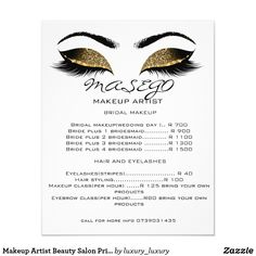 Shop Makeup Artist Beauty Salon Price List Flyer White created by luxury_luxury. Bridal Makeup, Wedding Makeup, Salon Price List, Custom Flyers, Makeup Class, Fine Paper, Eyelashes, Salons, Artist