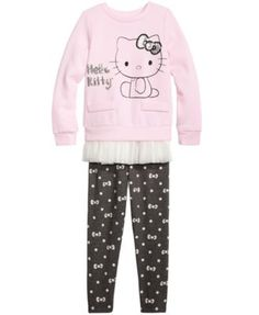 Hello Kitty 2-Pc. Ruffle Trim Tunic & Leggings Set, Toddler & Little Girls (2T-6X) | macys.com