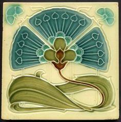 TH2622 Superb Art Nouveau Majolica Tile Cleveland Tile Co. c.1905 #ArtNouveau
