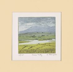 """Items similar to Irish Landscape Art Print on Fabriano paper with water-based inks, Original, Limited Edition """"Near Tully"""" on Etsy Landscape Prints, Landscape Art, Irish Landscape, Irish Art, Art Prints, Paper, Gifts, Etsy, Vintage"""