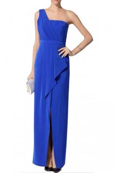 $196.00 A very romantic gown featuring a draped peplum at the waist for effortlessly chic evening looks. Asymmetrical neckline. Sleeveless.Single shoulder strap. Draped asymmetrical peplum at waist.Wrap skirt with slit at front. Boning at bodice.Center back zipper with hook-and-eye closure.Satin: Polyester. Crepe de chine: Polyester.Machine Wash.Imported