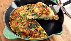 Frittata with Potatoes and Spinach- Serve this frittata with a little olive tapenade and a simple salad of cucumber and tomatoes drizzled with olive oil and seasoned with dried oregano, salt and pepper.