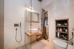 Bathroom with rock walls