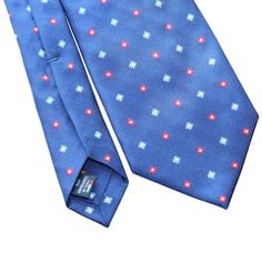 Pheobes  Dee Prescott Seven Fold Tie in Blue with Red and Blue accents. All our ties are  handmade in Italy #sevenfoldtie #menswear #style #gentleman