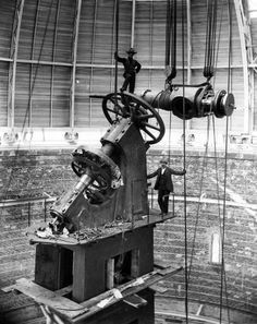 The Declination Axis of the Yerkes Observatory 40-inch Refracting Telescope being lowered into position, October 1896 image credit: Yerkes Observatory, University of Chicago