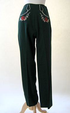 1940 | Green Gabardine Western Pants with White Piping and Floral Embroidered Detailing