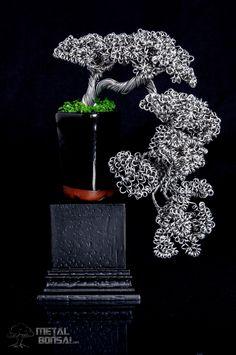 Natural – Metal Bonsai Tree Sculptures. Cascade Bonsai- Wire Metal Bonsai Tree Art Sculpture. Wire bonsai tree sculpture. @metalbonsai. http://metalbonsai.com #bonsai metalbonsai