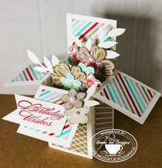 I keep finding more card in a box pics on Pinterest and I found this box and a wonderful template/instructions on PERKY PENNY PAPERS.COM ...