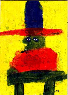 quick draw e9Art ACEO Cowboy Western Outsider Art Brut Painting Folk Naive Intuitive Primitive