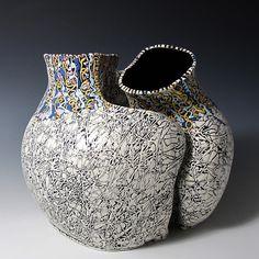 Vessel Pair  porcelain,  two pieces, 10x10x10 inches  SOLD. Saengerporcelain.com