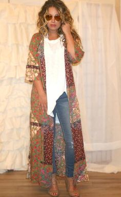 I love dusters and kimonos! Shira Bohemian Patchwork Duster, boho outfits, bohemian fashion