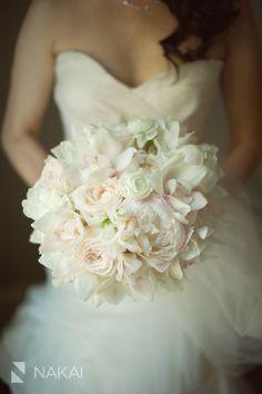 Bridal Bouquet. Garden Rose. Peony. Ranunculus. Cymbidium Orchid. Blush, White, and Cream Flowers by Vale of Enna Flowers. Nakai Photography. Waldorf Astoria. Chicago Wedding.