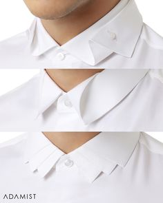 CLASSIC White Shirt with Modern Collar TWIST! Choose from 'Butterfly', 'Origami', or 'Royalty' Collar ↔️ & tell us which do you like most❓ Available in plain or motif fabrics & black/colors — Order Now! Mens High Collar Shirts, Shirt Collar Styles, Mens Kurta Designs, African Dresses Men, African Men Fashion, Fashion Sewing, Fashion Wear, Fashion Menswear, Classic White Shirt