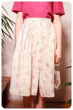Vintage Floral Linen Skirt