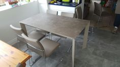 Link ceramic top fixed dining table with Layla mink chairs. Delivered to our client in Surrey. Extendable Dining Table, Surrey, Mink, Corner Desk, Chairs, Ceramics, Kitchen, Top, Furniture