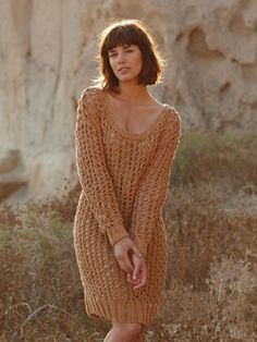 Knit this womens openwork dress from the All Seasons Chunky Collection, a design by Marie Wallin using the lovely yarn All Seasons Chunky (cotton and acrylic). With full length sleeves, ribbed edgings and a stunning stitch detail, this knitting pattern is for the experienced knitter.