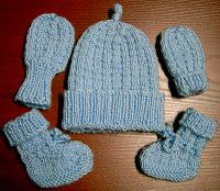 Hat Booties Mittens Set Large Preemie Or Small Newborn Baby