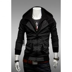 $14.90 Handsome Solid Large Pockets Double-Zip Design Polyester Hooded Spring Sweater For Men