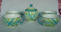Vintage Blue Green Plaid Japan Japanese Sugar Bowl 4 Coffee Cup Cups 8010  #BluePlaid