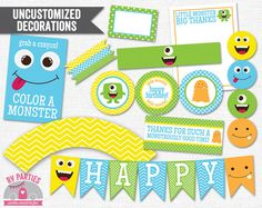 INSTANT DOWNLOAD Monster Party Printable PDF Cupcake by RVparties