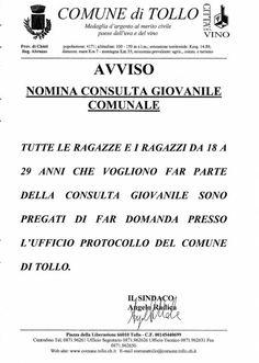 Avviso - Nomina Consulta Giovanile Comunale Comune di Tollo - Sito Ufficiale del Comune di Tollo (CH)