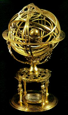 The armillary sphere. This example was made in the 1560s, but follows the classical Ptolemaic pattern. From Turner, Early Scientific Instruments (1987).