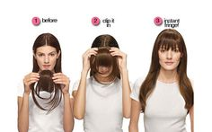 clip in fringe; clip in bangs; how to pull of a fringe; how to maintain bangs/fringe. Mega Hair Tic Tac, Clip In Fringe, Fake Fringe, Fake Bangs, Cut Bangs, Fringe Bangs, Franck Provost, Diy Wig, Hairdo For Long Hair