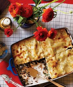 Mushroom and Spinach Lasagna | Get the recipe: http://www.realsimple.com/food-recipes/browse-all-recipes/mushroom-lasagna-00100000075495