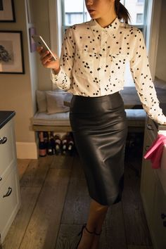 Chic work outfit styled with Equipment star blouse | Keatonrow.com