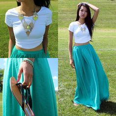 Hotttshit Necklace, Zara Maxi Skirt, Brandy Melville Crop Top, Hotttshit Bracelet