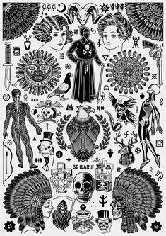 Mike Giant x Tom Gilmour Tattoo Flash Print Flash Art Tattoos, Tattoo Flash Sheet, Body Art Tattoos, Cross Tattoos, Mike Giant, Rebellen Tattoo, Tattoo Drawings, Devil Tattoo, Tiger Tattoo