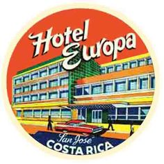 Costa Rica - Hotel  Vintage Style Travel Decal Sticker