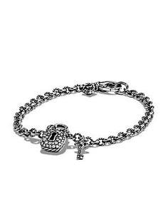 David Yurman Cable Collectibles Lock & Key Charm Bracelet with Diamonds