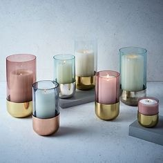 Metallic + Pastel Glass Candleholders
