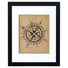 A delightful addition to a coastal-chic vignette, this charming framed burlap print showcases a nautical compass motif. Made in the USA.