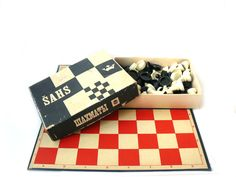 Vintage Soviet chess set chess Board checkers Board unique chess sets antique chess pieces in box checkers Soviet chess Soviet checkers (50.00 USD) by nostalgishop