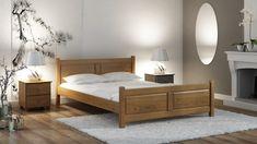 Pine Wood Wooden Bed Frame with Slats Kingsize Double Modern Oak Wooden Double Bed, Double Beds, Solid Pine, Solid Wood, Bed Furniture, Furniture Design, Oak Beds, Wooden Bed Frames, Diy Bed Frame