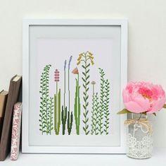 Beautiful wildflower and grass cross stitch pattern by ThuHaDesign