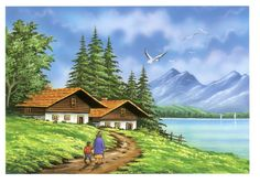 Scenery Paintings, Nature Paintings, Beautiful Paintings, Beautiful Landscapes, Watercolor Landscape Paintings, Sky Painting, Landscape Art, Village Scene Drawing, Acrylic Painting Inspiration