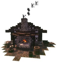 Blacksmith's Forge using the Conquest Reforged Mod : Minecraft Minecraft Cottage, Cute Minecraft Houses, Minecraft Houses Blueprints, Cool Minecraft, Minecraft Crafts, Minecraft Designs, Minecraft Building Guide, Minecraft Plans, Places