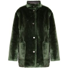 Opening Ceremony Reversible Faux Fur Culver Coat (3.075 BRL) ❤ liked on Polyvore featuring outerwear, coats, reversible coat, green coat, opening ceremony, fake fur coats and clear coat